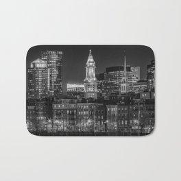 BOSTON Evening Skyline of North End & Financial District   Monochrome Bath Mat