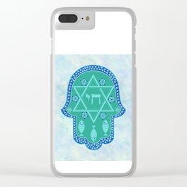 Hamsa for blessings, protection and strength - watercolor turquoise Clear iPhone Case