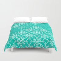 snowflake Duvet Covers featuring SNOWFLAKE by Dash of noir