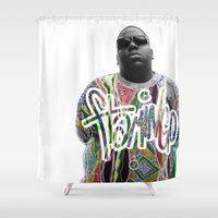 biggie Shower Curtains featuring Biggie Scribble by Flamingo Customs