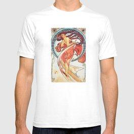 Alphonse Mucha Dance Art Nouveau Watercolor Painting T-shirt