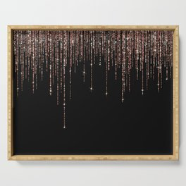 Luxury Black Rose Gold Sparkly Glitter Fringe Serving Tray