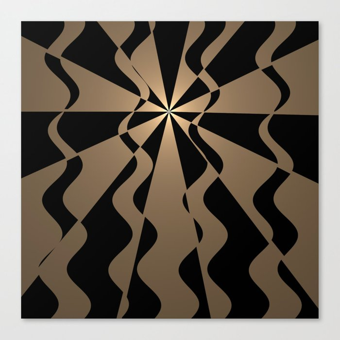 Trendy abstract in gold and black Canvas Print