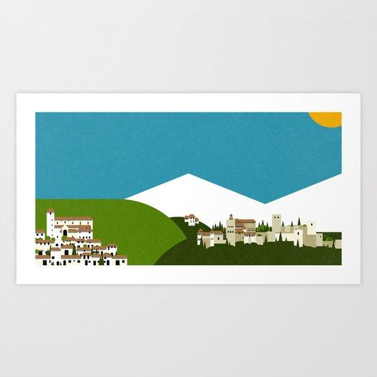 Granada - El Albaycín y La Alhambra Art Print
