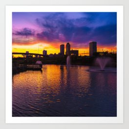 Tulsa Oklahoma Skyline on Fire 1x1 Art Print