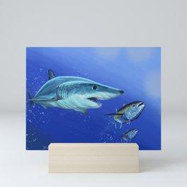 Mako Shark on the hunt Mini Art Print