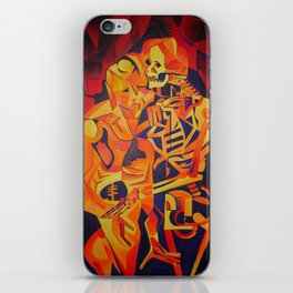 A Skeleton and Corpse Embracing Death iPhone Skin