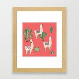 Llama with Cacti Framed Art Print