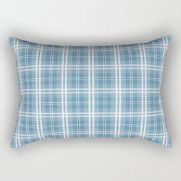 Spring 2017 Designer Color Niagra Blue Tartan Plaid Check Rectangular Pillow