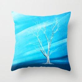 Big white leafless tree blue background Throw Pillow