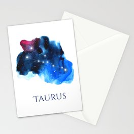 Taurus Zodiac Sign - Watercolor Star Constellation Stationery Cards