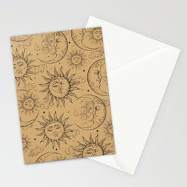 Tan Magic Celestial Sun Moon Stars Stationery Cards