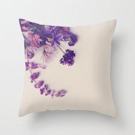 Purple wild flowers Throw Pillow