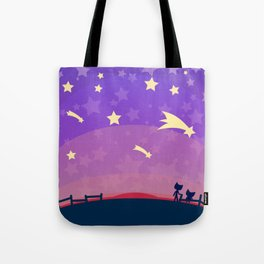 Starry sunset seen by cats Tote Bag