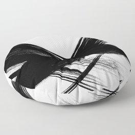 Black Abstract Brush Strokes nr 6 Floor Pillow