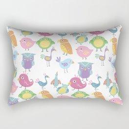 Hand drawn pink blue green orange birds illustration Rectangular Pillow