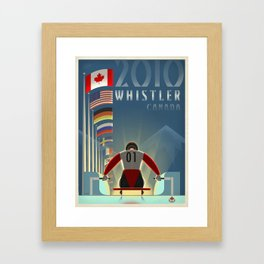 "Minimalist Whistler ""Olympic Luge"" Travel Poster Framed Art Print"