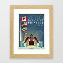 "Minimalist Whistler ""Olympic Luge"" Travel Poster Framed Art Print"