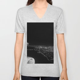 Chicago Skyline. Airplane. View From Plane. Chicago Nighttime. City Skyline. Jodilynpaintings Unisex V-Neck