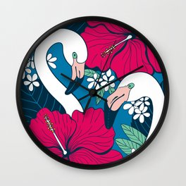 Flamingos and tropical flowers and leaves Wall Clock