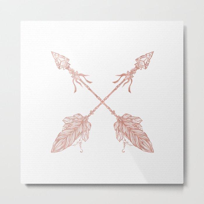 Tribal Arrows Rose Gold on White Metal Print