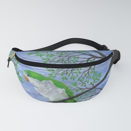 A painting of a quaker parrot Fanny Pack
