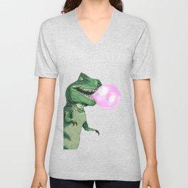Bubble gum T-Rex in Pink Unisex V-Neck