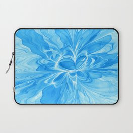 Blue Jeans Colors And White, Abstract Fractal Art Laptop Sleeve