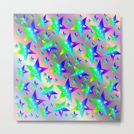 laughing, happy, stars, rainbow colors, pastel, friendly, pattern nursery textile Metal Print