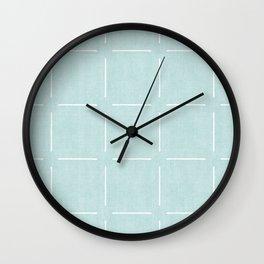 Block Print Simple Squares in Mint Wall Clock