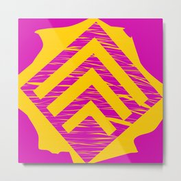 Overlaying Pink Yellow Marbles & Triangles Abstract Art Metal Print