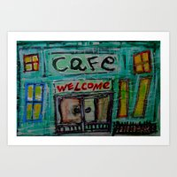 cafe Art Prints featuring cafe by songs for seba