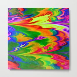 Abstract Ebru Multicolor Waves Piant Metal Print