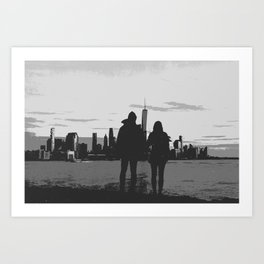 Couple Looking At New York City Skyline Artistic Black And White Art Print