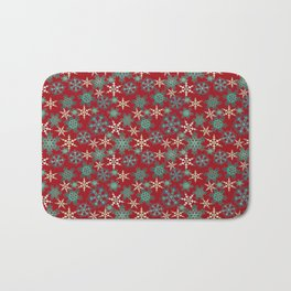 Red blue abstract Christmas decor . Snowflakes . Bath Mat