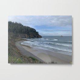 Cape Meares Beach, Tillamook, Oregon Metal Print