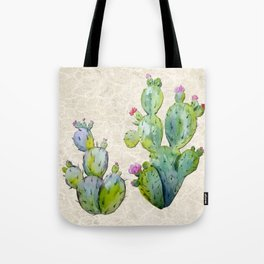 Water Color Prickly Pear Cactus Adobe Background Tote Bag