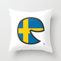 sweden Throw Pillows featuring Sweden Smile by onejyoo