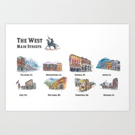 USA Wild West Towns Main Streets - Telluride, Breckenridge, Aspen & Co. Art Print