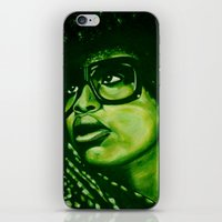 erykah badu iPhone & iPod Skins featuring badu?!-green by noblackcolor