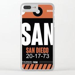 SAN San Diego Luggage Tag 3 Clear iPhone Case