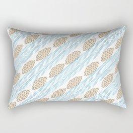 Blue brown watercolor brushstrokes leaves chevron Rectangular Pillow
