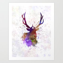 Elk 03 in watercolor Art Print