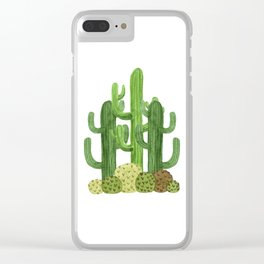 Desert Vacay Three Cacti Clear iPhone Case