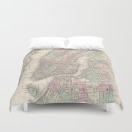 Vintage Map of NYC and Brooklyn (1865) Duvet Cover