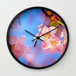 Play Of Light On Sakura Flower. Hanami Season Of Spring Wall Clock