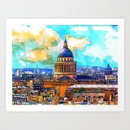 Paris skyline with Panteon. Paris, France. Art Print