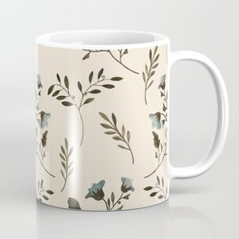 Ivory Cream and Bluebells and Bluebirds Floral Pattern Flowers in Blue and Bark Brown Coffee Mug