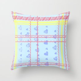 Soft coloured tartan text 'Love' - Pastel pink blue and yellow Throw Pillow