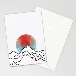 Red Sun Over The Mountains Stationery Cards